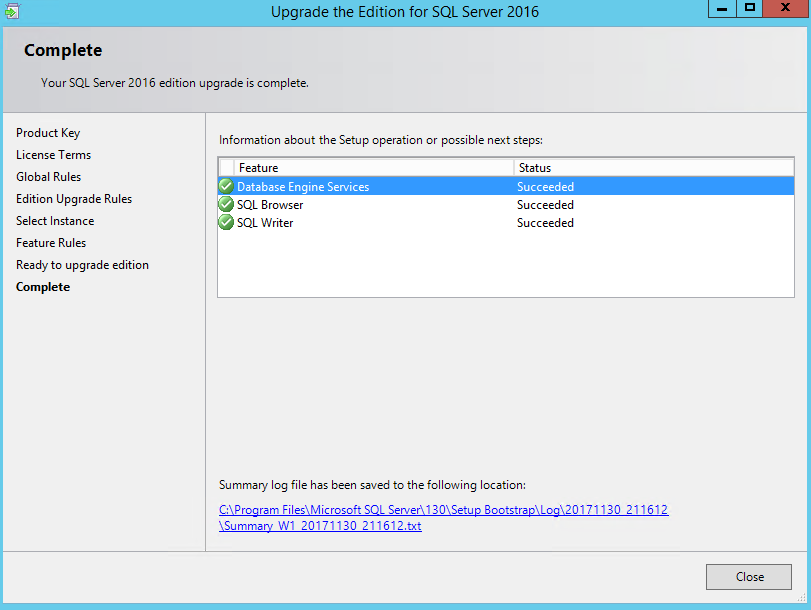 Upgrading an expired SQL Server 2016 Evaluation Edition